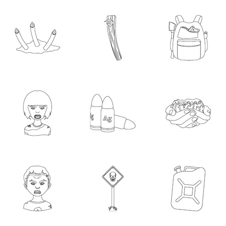 Ground, Zombie, corpse and other  icon in outline style. Fool, hand, flesh, icons in set collection. Illustration