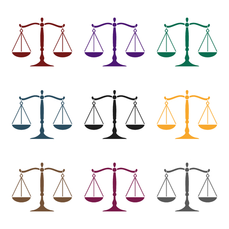 scale of justice: Scales of justice icon in black style isolated on white background. Crime symbol vector illustration. Illustration