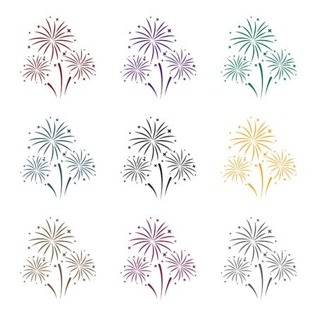 new years: Colorful fireworks icon in black style isolated on white background. Event service symbol vector illustration. Illustration