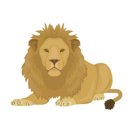 A lion, a wild and ferocious predator. Leo, the king of beasts single icon in cartoon style vector symbol stock illustration . Vektoros illusztráció