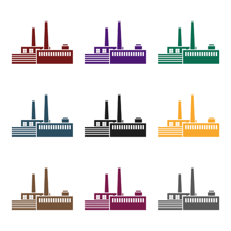 heavy industry: Factory icon in black style isolated on white background. Factory symbol vector illustration.