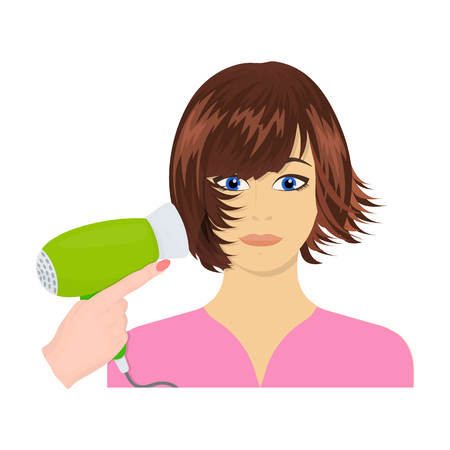 brown haired girl: Hairstyle single icon in cartoon style.Hairstyle, vector symbol stock illustration .
