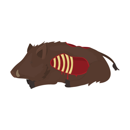 infected: Boar single icon in cartoon style.Boar, vector symbol stock illustration .