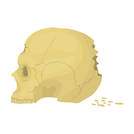 Skull single icon in cartoon style.Skull, vector symbol stock illustration .