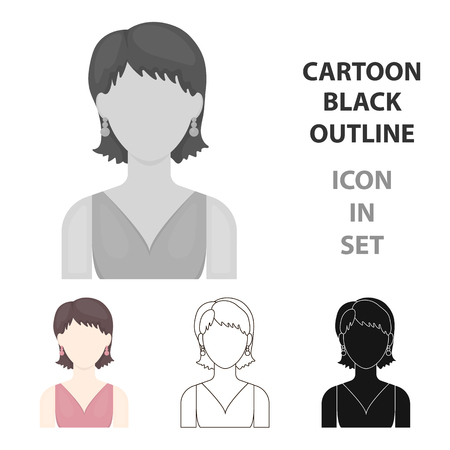 Girl with earrings icon cartoon Illustration