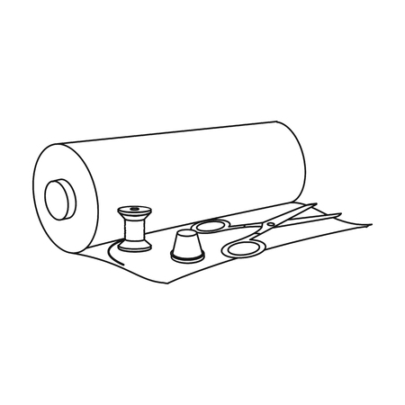 A roll of sewing fabric, scissors, a thimble and a thread coil. Sewing and equipment single icon in outline style vector symbol stock illustration web.