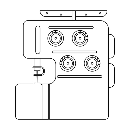Electric sewing machine, overlock. Sewing and equipment single icon in outline style vector symbol stock illustration web.