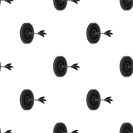 Dardos y un objetivo para los dardos. El juego de dardos solo icono en negro de patrones sin fisuras estilo vector símbolo stock ilustración web. Foto de archivo - 86204450
