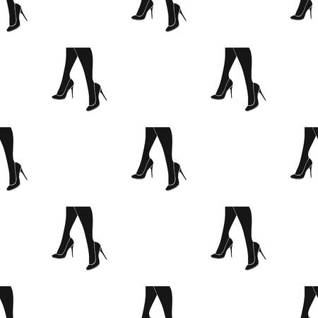 heelpiece: Female feet in heels. Womens shoes single icon in black silhouette style vector seamless pattern symbol stock illustration web.