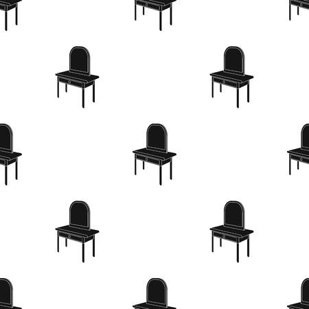 Een kaptafel met spiegel. Meubilair en binnenlands enig pictogram in de zwarte stijl van het silhouet naadloze patroon Isometrisch vector de voorraadweb van de symboolvoorraad.