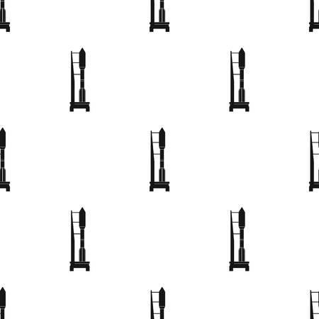 Space launch vehicle at launch. Space technology single icon in black style vector symbol stock illustration . Illustration