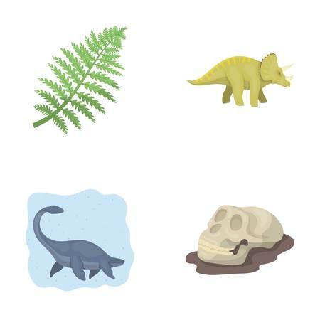 Sea dinosaur,triceratops, prehistoric plant, human skull. Dinosaur and prehistoric period set collection icons in cartoon style vector symbol stock illustration . Stock Vector - 86156566