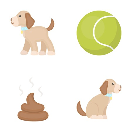 Dog sitting, dog standing, tennis ball, feces. Dog set collection icons in cartoon style vector symbol stock illustration . Çizim