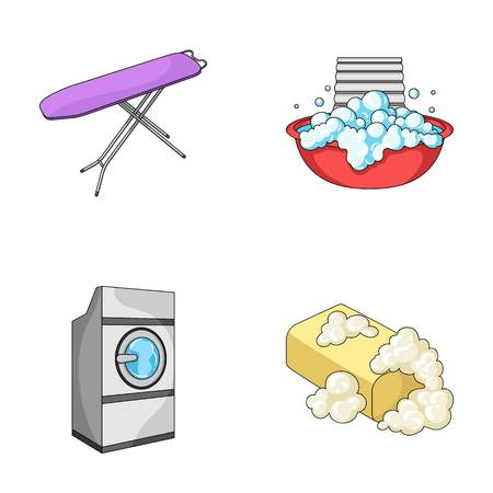 Ironing board and other accessories. Dry cleaning set collection icons in cartoon style vector symbol stock illustration . Illustration