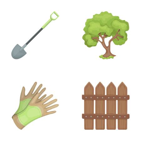 A shovel with a handle, a tree in the garden, gloves for working on a farm, a wooden fence. Farm and gardening set collection icons in cartoon style vector symbol stock illustration . Illustration