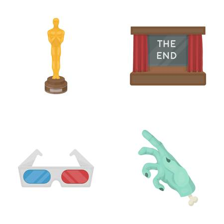 Award Oscar, movie screen, 3D glasses. Films and film set collection icons in cartoon style vector symbol stock illustration . Illustration
