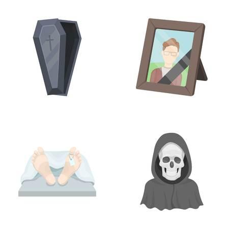 Sarg mit Deckel und Kreuz, Foto des Verstorbenen mit Trauerband, Leiche auf dem Tisch mit Schild in der Leichenhalle, Tod in Kapuze. Gesetzte Sammlungsikonen der Begräbnis- Zeremonie in der Karikaturartvektorsymbol-Vorratillustration. Vektorgrafik