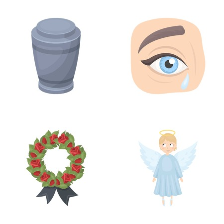 The urn with the ashes of the deceased, the tears of sorrow for the deceased at the funeral, the mourning wreath, the angel of death. Funeral ceremony set collection icons in cartoon style vector symbol stock illustration .