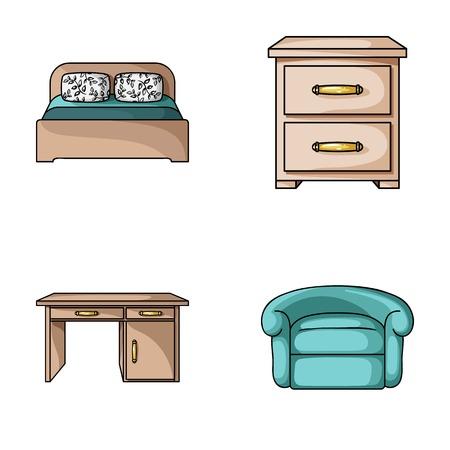 Binnenland, ontwerp, bed, slaapkamer. Meubels en home interiorset collectie pictogrammen in cartoon stijl vector symbool stock illustratie.