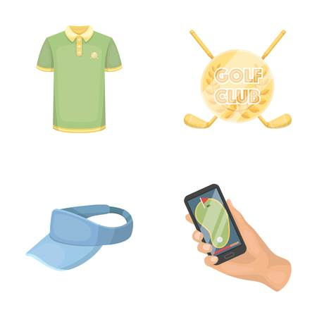 phone: Emblem of the golf club, cap with a visor, golfer shirt, phone with a navigator.Golf club set collection icons in cartoon style vector symbol stock illustration .
