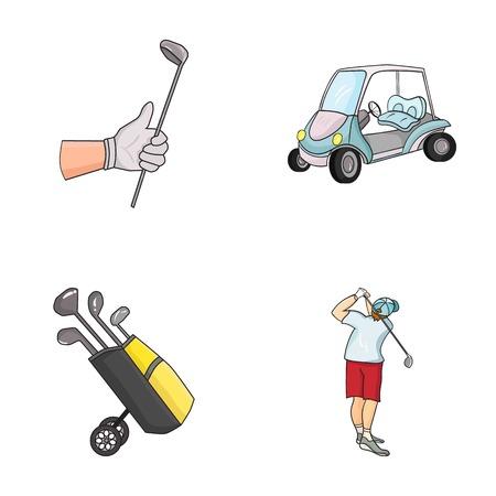 스틱, 골프 카트, 가방에 막대기로 트롤리 가방, 막대기로 망치로 낀 사람과 낀 손. 골프 클럽 세트 만화 스타일에서 컬렉션 아이콘 벡터 기호 재고 일