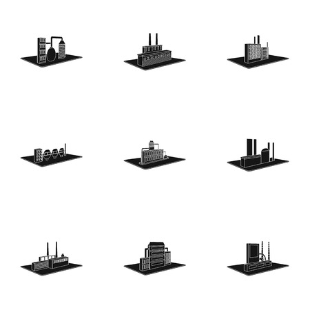 company premises: Processing factory,metallurgical plant and other production. Factory and industry set collection icons in black style isometric vector symbol stock illustration Illustration