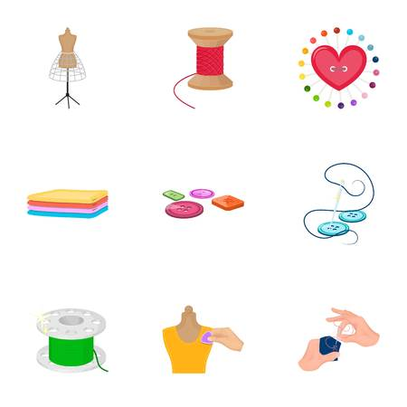 sewing machines: coil with thread, sewing machine, fabric and other equipment. Sewing and equipment set collection icons in cartoon style vector symbol stock illustration . Illustration
