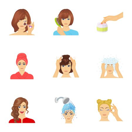 brown haired girl: Salon, bathroom, hygiene and other web icon in cartoon style. Shampoo, hairdresser, cosmetic, icons in set collection.