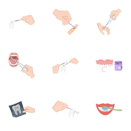 Anesthetic injection, examination of the tooth and other web icon in cartoon style. wound treatment, vision check icons in set collection.