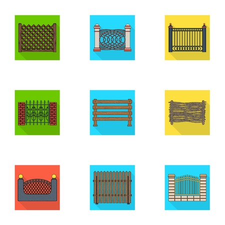 construction: A fence of metal and bricks,wooden palisade and other varieties. A different fence set collection icons in flat style vector symbol stock illustration .