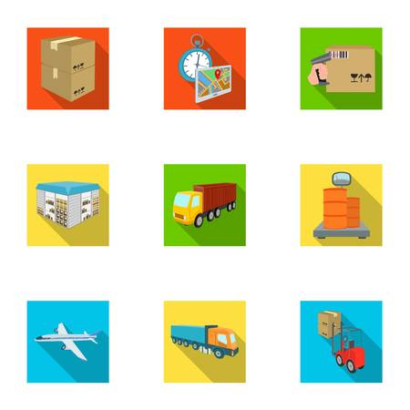 Forklift, cargo plane, goods, documents and other items in the delivery and transportation. Logistics and delivery set collection icons in flat style isometric vector symbol stock illustration web.