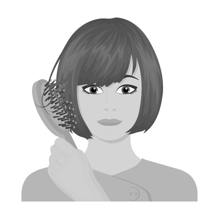 brown haired girl: Hair, single icon in monochrome style.Hair, vector symbol stock illustration web.