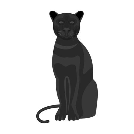 Panthère, animal prédateur. Pantera, icône unique de chat sauvage en symbole vectoriel de style monochrome stock illustration. Banque d'images - 86156765