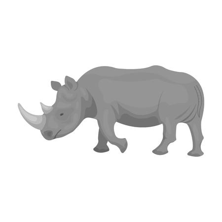 大規模なインドのサイ。野生動物のサイ単一モノクロ スタイル ベクトル シンボル ストック イラストのアイコン。  イラスト・ベクター素材