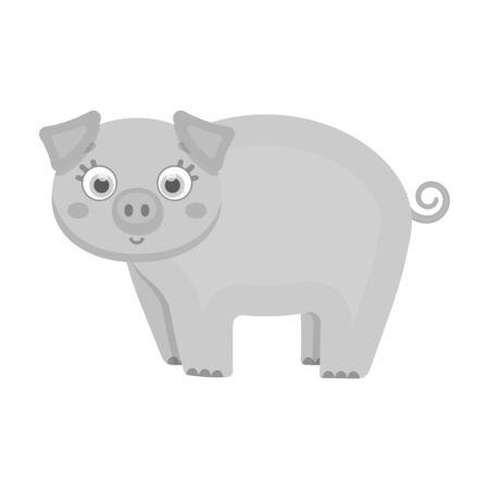 Piglet, single icon in monochrome style.Piglet vector symbol stock illustration web. Ilustracja