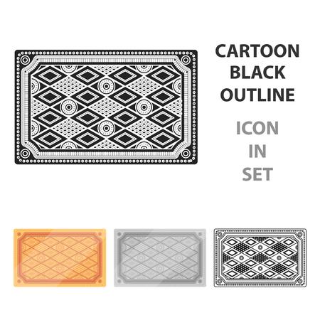 Turkish carpet icon in cartoon style isolated on white background. Turkey symbol stock vector illustration. Illustration