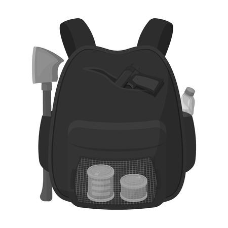 Backpack, single icon in monochrome style.Backpack, vector symbol stock illustration web. Illustration