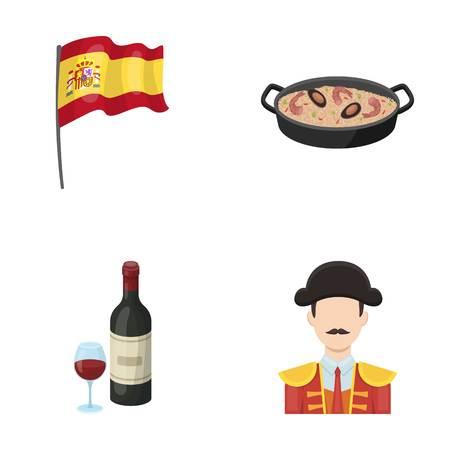 Vlag met het wapen van Spanje, een nationale schotel met rijst en tomaten, een fles wijn met een glas, een stierenvechter, een matador. Spanje land ingesteld collectie iconen in cartoon stijl vector symbool stock illustratie web.