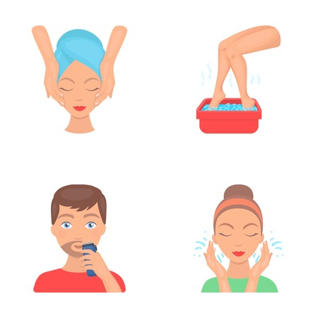 Face massage, foot bath, shaving, face washing. Skin Care set collection icons in cartoon style vector symbol stock illustration web.