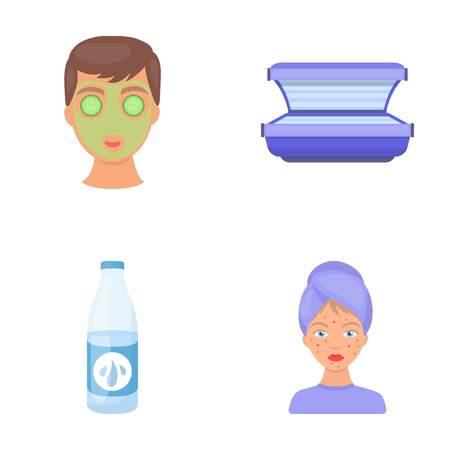 Gezichtsmasker, solarium, fles ts lasenom, puistjes op gezicht. Huidverzorging stel collectie iconen in cartoon stijl vector symbool stock illustratie web.