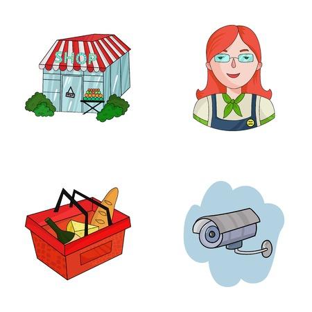 mujer en el supermercado: Salesman, woman, basket, plastic .Supermarket set collection icons in cartoon style vector symbol stock illustration web.