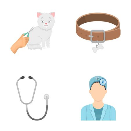 Collar, bone, cat, haircut .Vet Clinic set collection icons in cartoon style vector symbol stock illustration web. Çizim