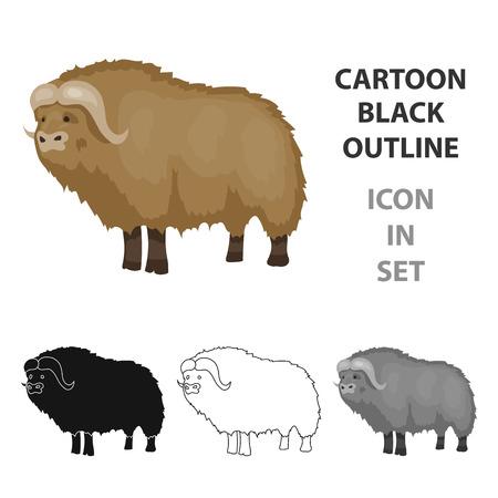 Muskox of stone age icon in cartoon style isolated on white background. Stone age symbol stock vector illustration. Ilustrace