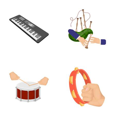 Synthesizer melodies, bagpipes Scotch and other web icon in cartoon style. drum, drum roll, tambourine in hand icons in set collection.