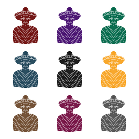 Mexican man in sombrero and poncho icon in black style isolated on white background. Mexico country symbol stock vector illustration.