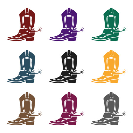 Cowboy boot icon in black style isolated on white background. Wlid west symbol stock vector illustration.