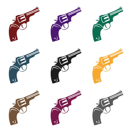 Revolver icon in black style isolated on white background. Wlid west symbol stock vector illustration.