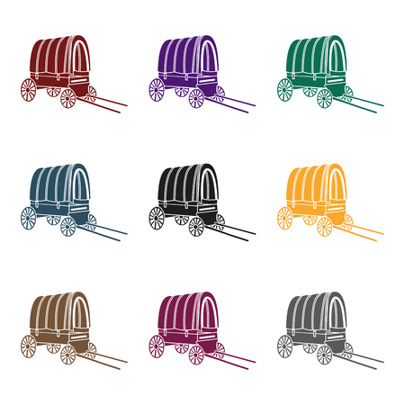Cowboy wagon icon in black style isolated on white background. Wlid west symbol stock vector illustration. Illustration