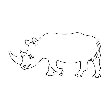 큰 인도 코뿔소. 야생 동물, 코뿔소 개요 스타일에서 단일 아이콘 벡터 기호 재고 일러스트 웹.