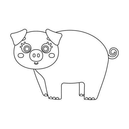 Piglet, single icon in outline style.Piglet vector symbol stock illustration web. Ilustracja